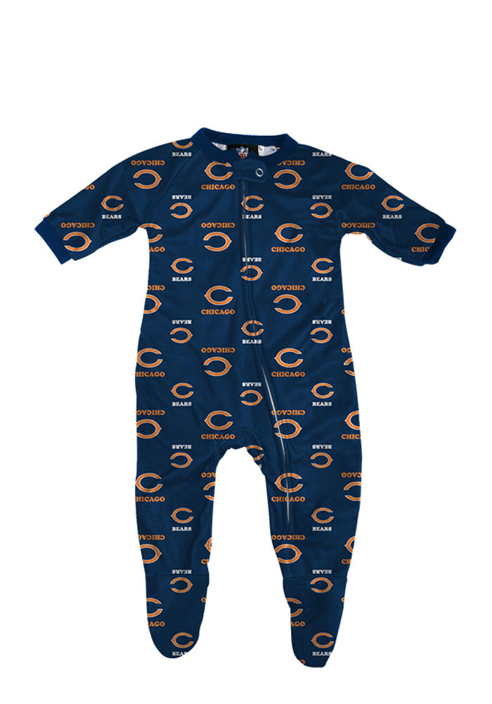 Chicago Bears Baby Navy Blue Jumper Loungewear Creeper Pajamas - Image 1
