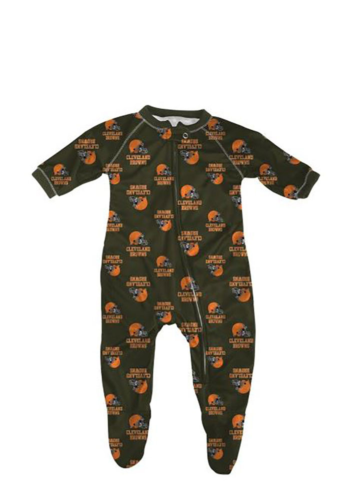 Cleveland Browns Baby Brown Jumper Loungewear Creeper Pajamas - Image 1
