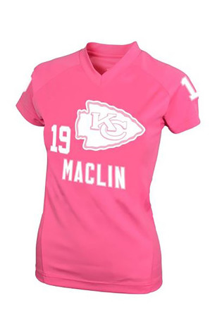 Travis Kelce Kansas City Chiefs Girls Pink Name and Number Player Tee