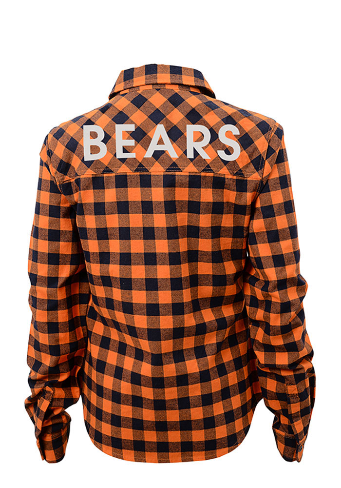 Chicago Bears Junior Fit Buffalo Plaid Long Sleeve Orange Dress Shirt - Image 2