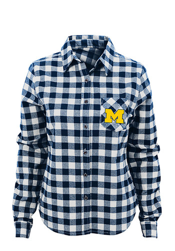 Michigan wolverines juniors buffalo plaid long sleeve navy for Navy blue checkered dress shirt