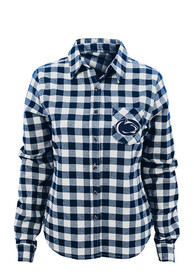 Penn State Nittany Lions Junior Fit Navy Blue Buffalo Plaid Dress Shirt