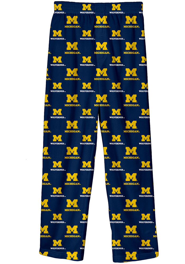 Michigan Wolverines Youth Navy Blue All Over Sleep Pants - Image 1