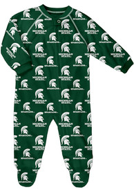 Michigan State Spartans Baby All Over Green All Over One Piece Pajamas