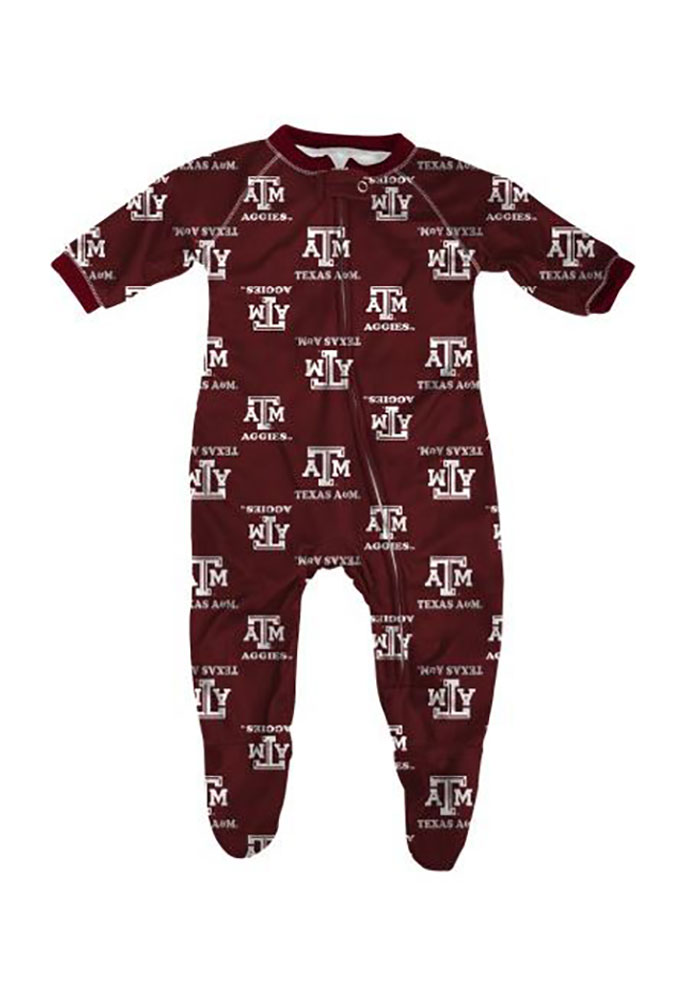Texas A&M Aggies Baby Maroon All Over Loungewear One Piece Pajamas - Image 1