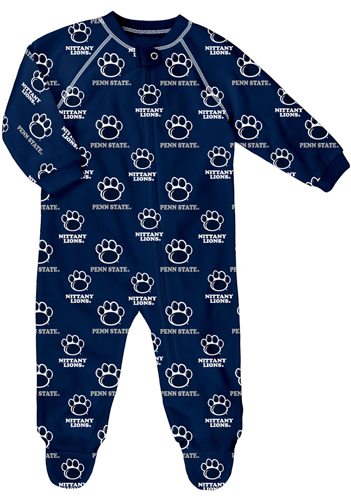 Penn State Nittany Lions Baby Navy Blue All Over Loungewear One Piece Pajamas - Image 1