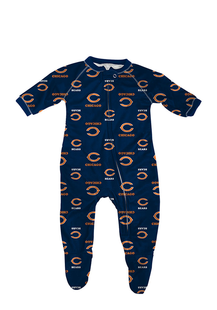 Chicago Bears Baby Navy Blue All Over Loungewear Creeper Pajamas - Image 1