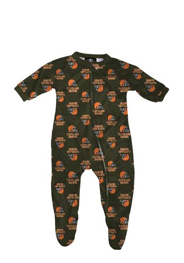 Cleveland Browns Baby Brown All Over Loungewear One Piece Pajamas - Image 1