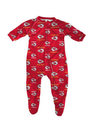 Kansas City Chiefs Baby All Over Red All Over Creeper Pajamas