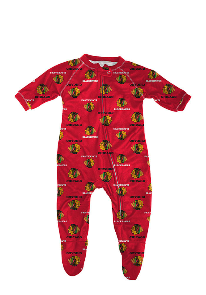 Chicago Blackhawks Baby Red All Over Loungewear Creeper Pajamas - Image 1