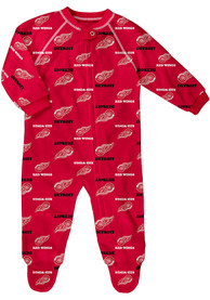 Detroit Red Wings Baby All Over One Piece Pajamas - Red