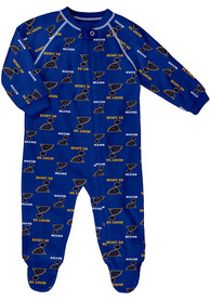 St Louis Blues Baby All Over One Piece Pajamas - Navy Blue