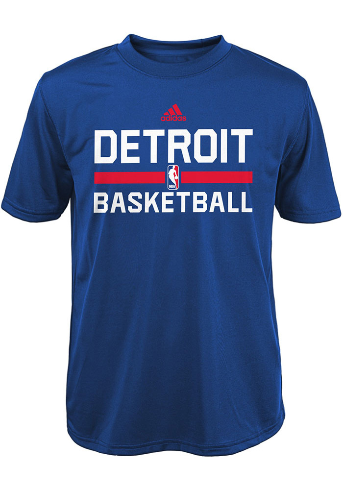 Detroit Pistons Youth Blue Practice Wear Short Sleeve T-Shirt - Image 1