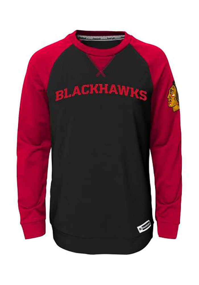 Chicago Blackhawks Youth Red Faceoff Long Sleeve Crew Sweatshirt - Image 1