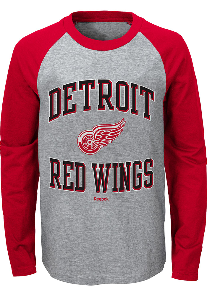 Detroit Red Wings Youth Grey Fangear Long Sleeve T-Shirt - Image 1