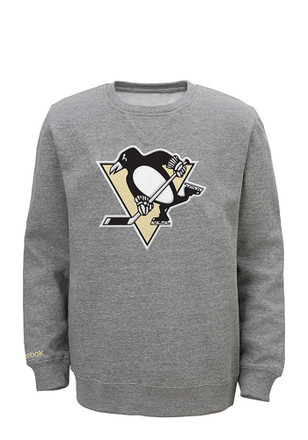 Pittsburgh Penguins Kids Grey Prime Crew Sweatshirt