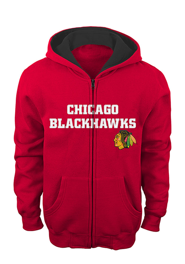 Chicago Blackhawks Boys Red Stated Long Sleeve Full Zip Hooded Sweatshirt - Image 1