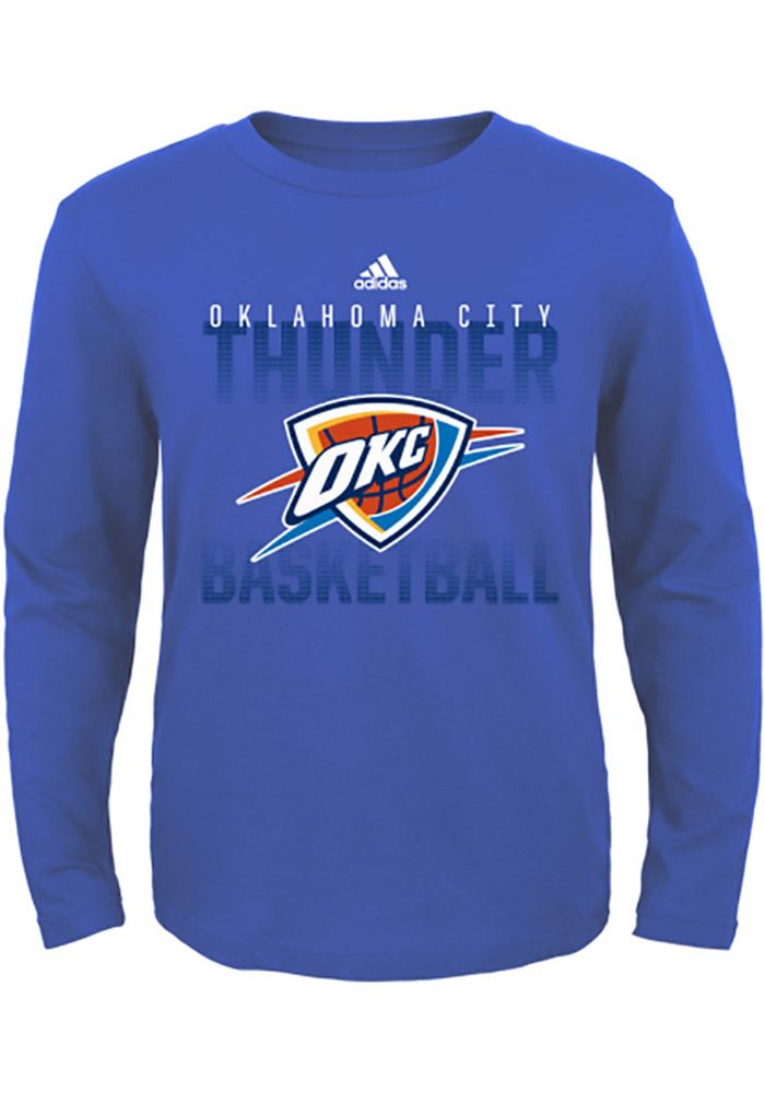 Oklahoma City Thunder Youth Navy Blue Fade Away Long Sleeve T-Shirt - Image 1