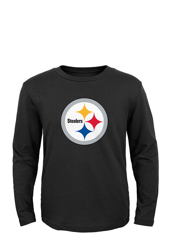 Pittsburgh Steelers Youth Black Primary Long Sleeve T-Shirt - Image 1