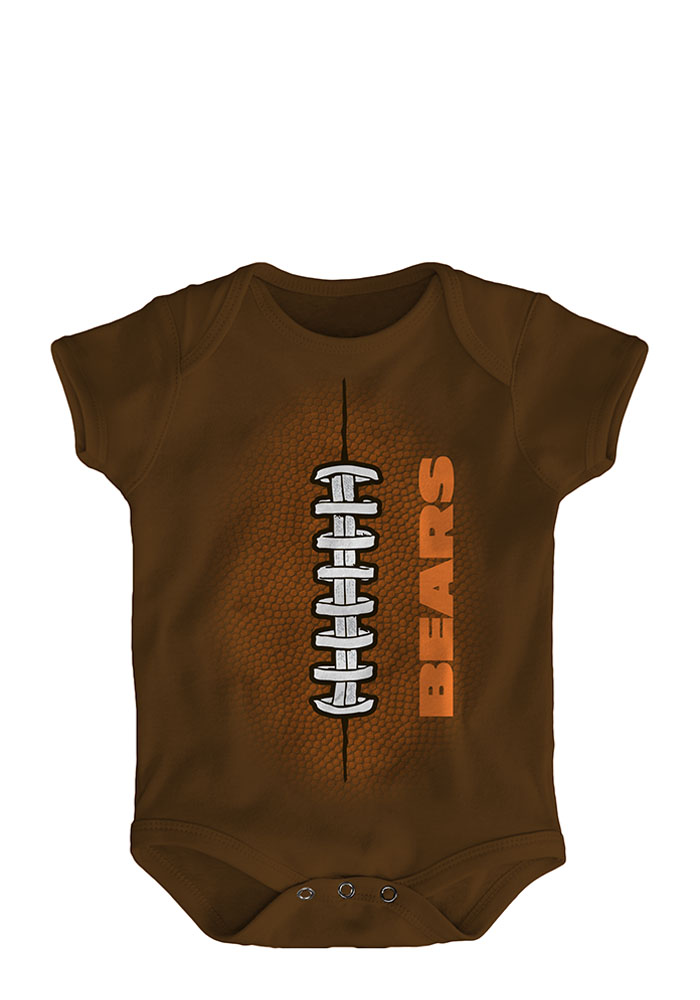 Chicago Bears Baby Brown Mini Football Short Sleeve One Piece - Image 1