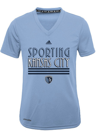 Sporting Kansas City Girls Light Blue Three Stripe Stack T-Shirt