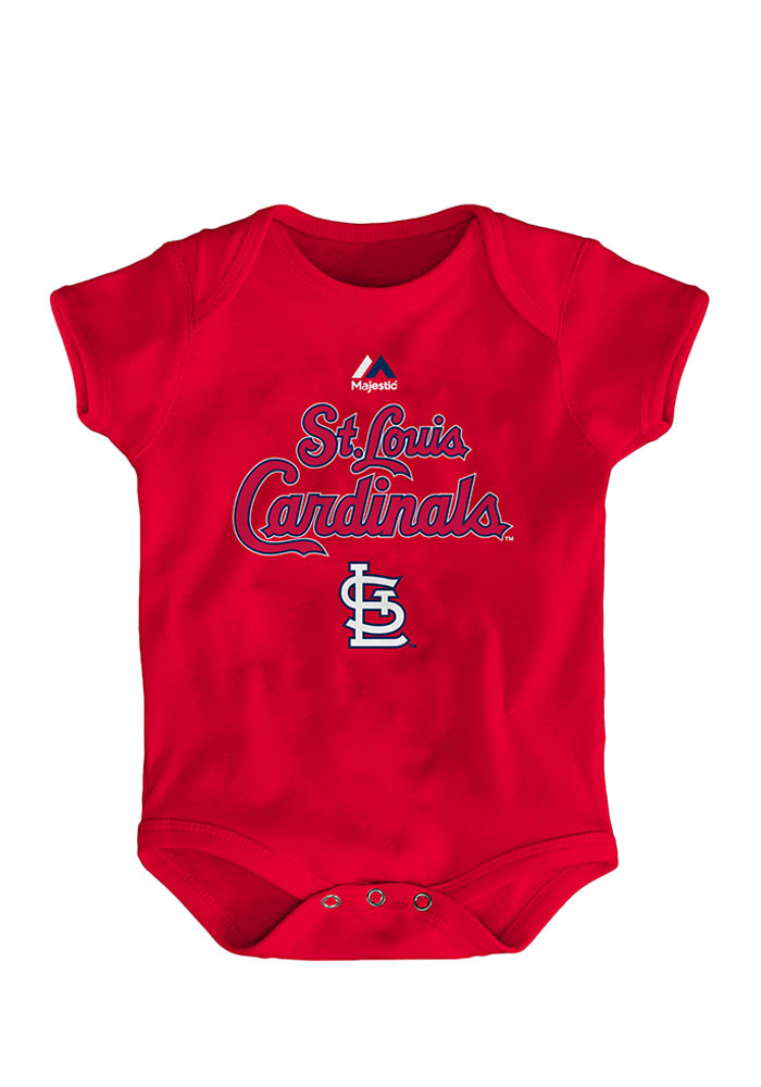 St Louis Cardinals Baby Red Player Name and Number Short Sleeve Creeper - Image 1