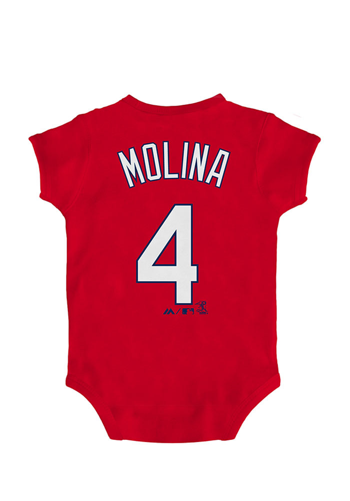 St Louis Cardinals Baby Red Player Name and Number Short Sleeve Creeper - Image 2