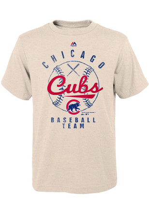 Chicago Cubs Youth Oatmeal First Print Fashion Tee