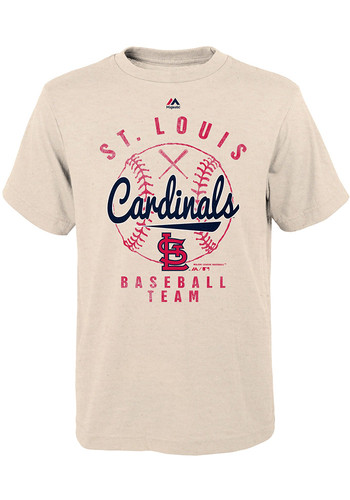 St Louis Cardinals Youth Oatmeal First Print Short Sleeve