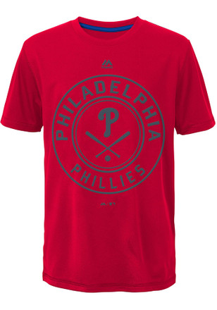 Philadelphia Phillies Youth Red Behind Home Plate T-Shirt