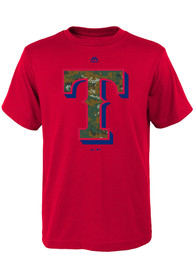Texas Rangers Youth Red Digi Camo T-Shirt