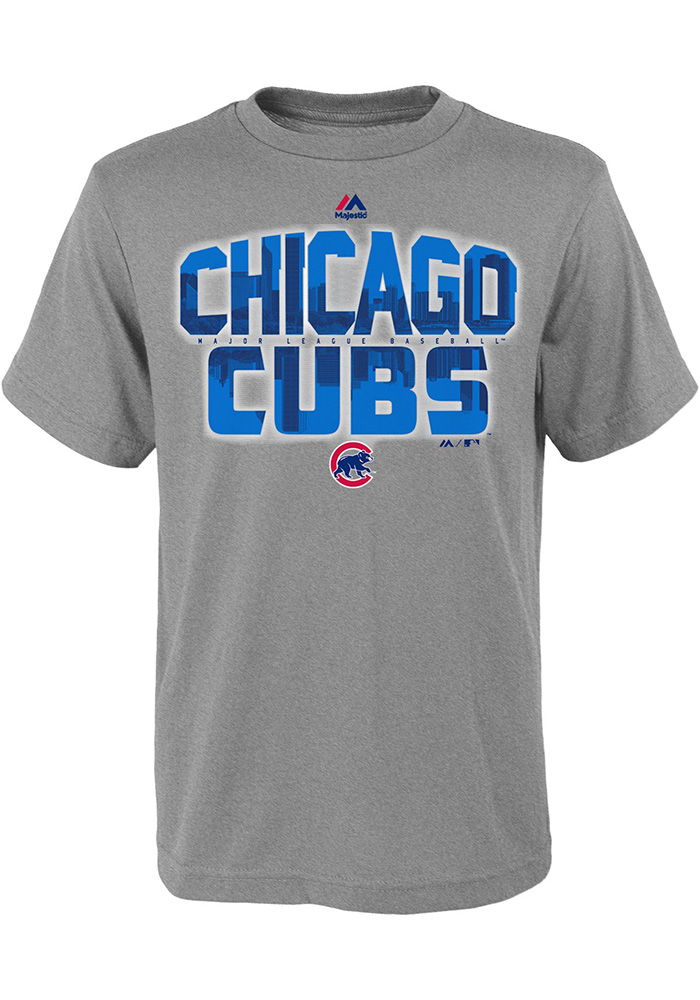 chicago cubs youth grey big city short sleeve t shirt