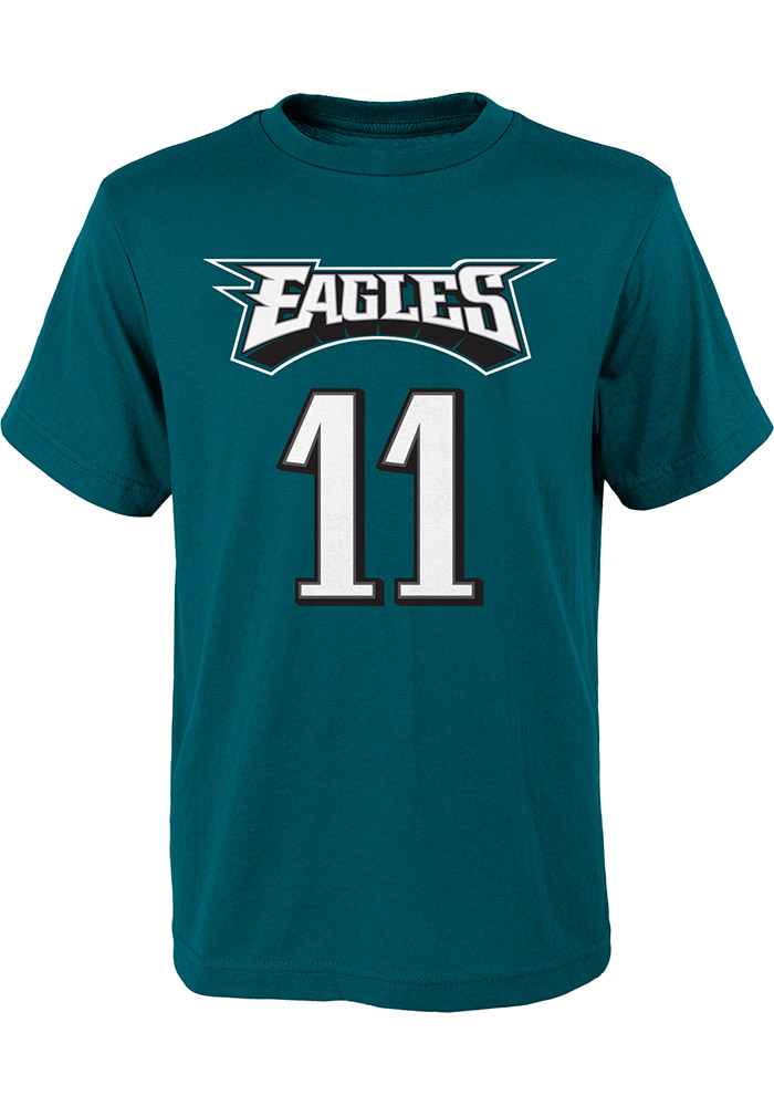 43592e10 Carson Wentz Philadelphia Eagles Youth Midnight Green Name and number  Player Tee