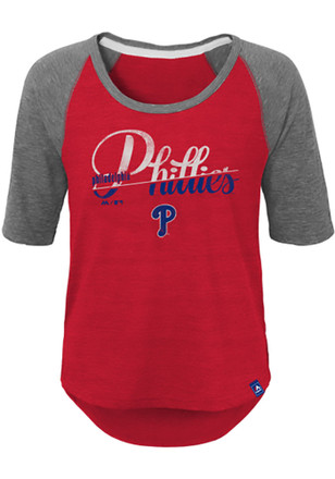 Phillies Girls Red Vintage Long Sleeve T-shirt