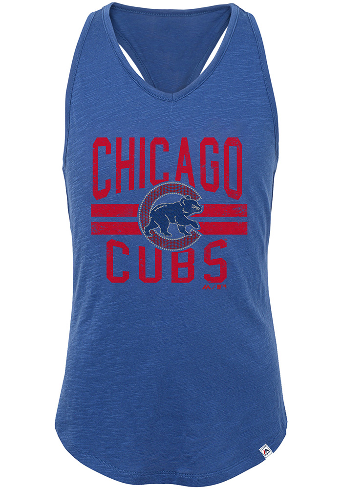 Chicago Cubs Girls Blue Four Seamer Short Sleeve Tank Top - Image 1