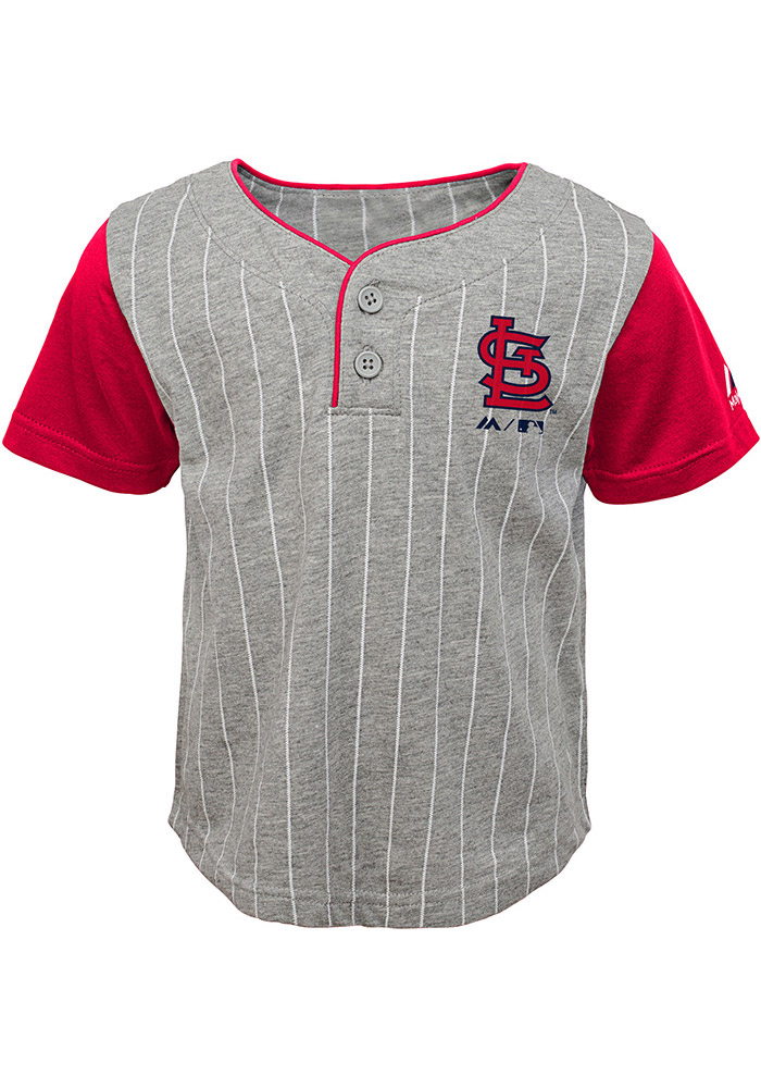 St Louis Cardinals Toddler Grey Batter Up Set Top and Bottom - Image 1