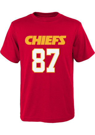 Travis Kelce Kansas City Chiefs Boys Red Name and Number T-Shirt