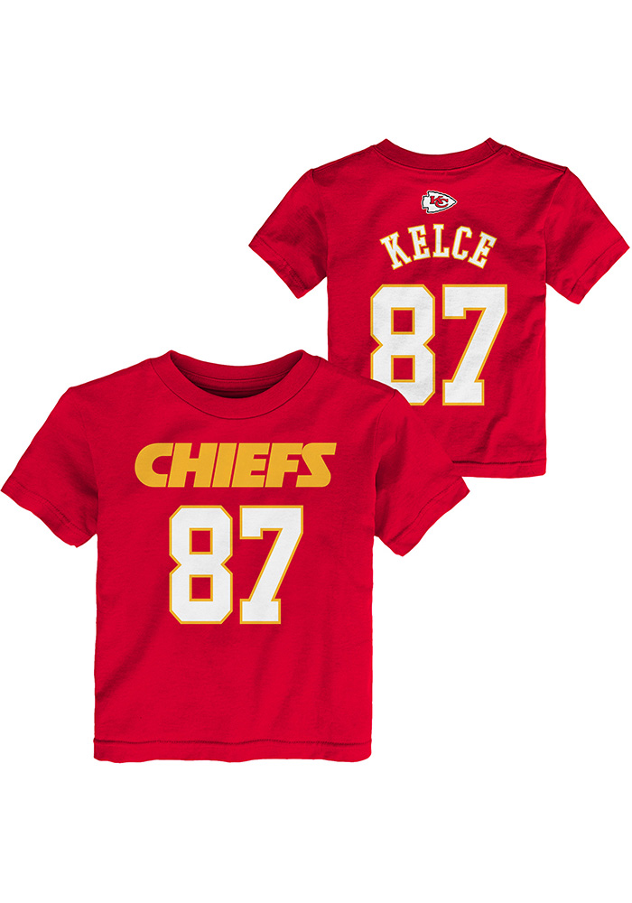 Travis Kelce Kansas City Chiefs Toddler Red Player Short Sleeve Player T Shirt - Image 1