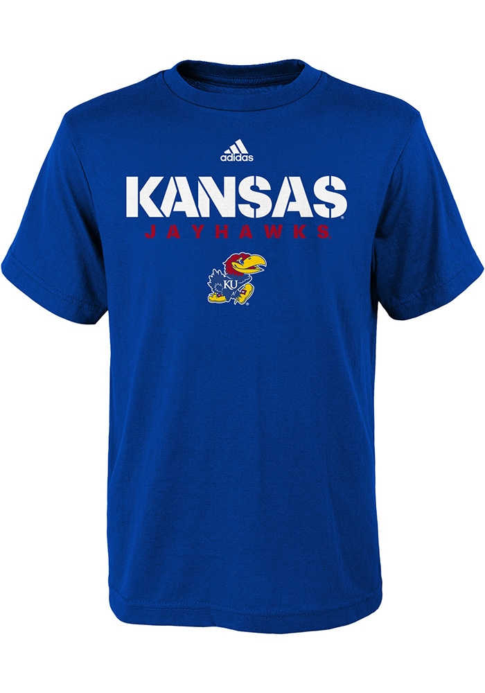 Kansas Jayhawks Youth Blue Sideline Short Sleeve T-Shirt - Image 1