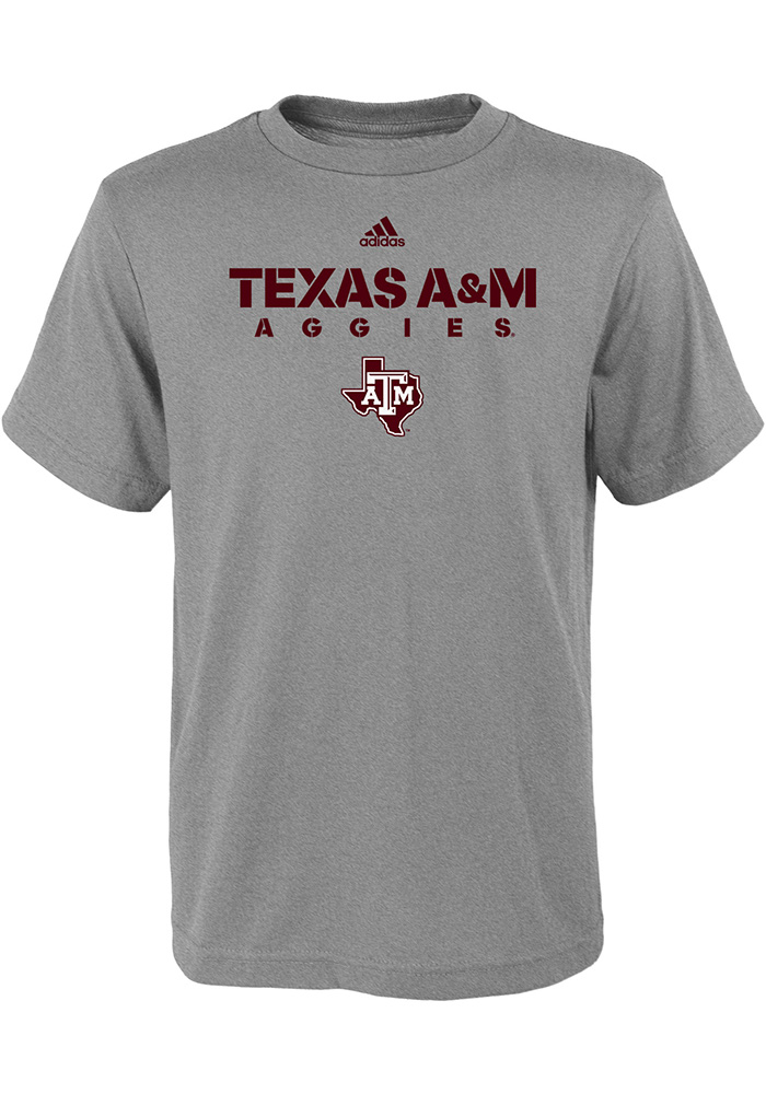 Texas A&M Aggies Youth Grey Sideline Short Sleeve T-Shirt - Image 1