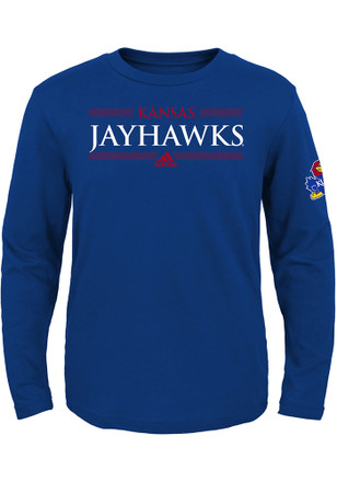 Kansas Jayhawks Boys Blue Linear Bars T-Shirt