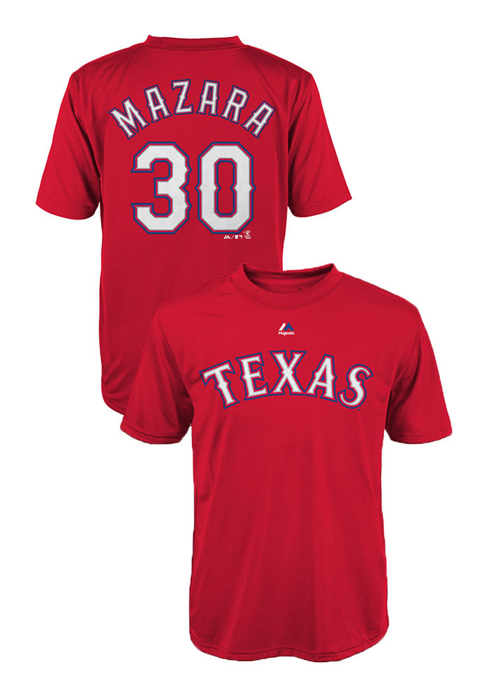 Nomar Mazara Texas Rangers Kids Red Performance Name and Number Player Tee - Image 1