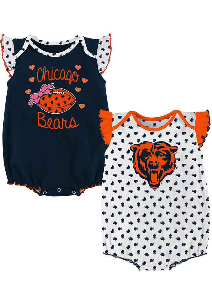 Chicago Bears Baby Navy Blue Heart Fan Set One Piece - Image 1