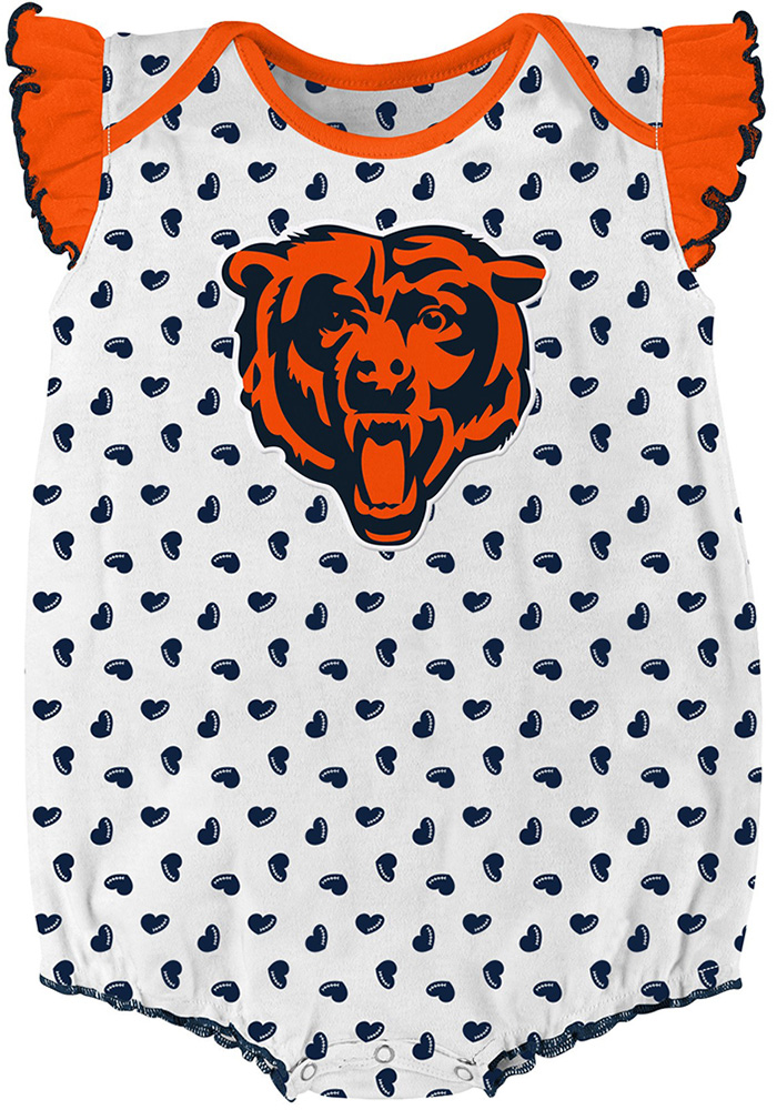 Chicago Bears Baby Navy Blue Heart Fan Set One Piece - Image 2