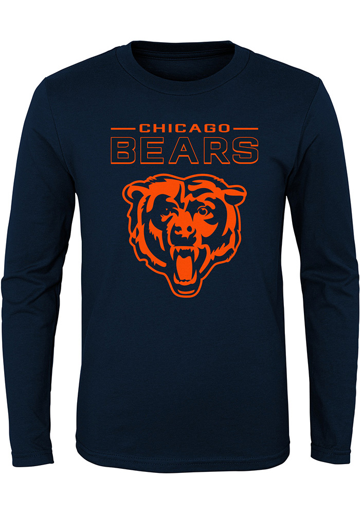 Chicago Bears Youth Navy Blue Primary Logo Long Sleeve T-Shirt - Image 1