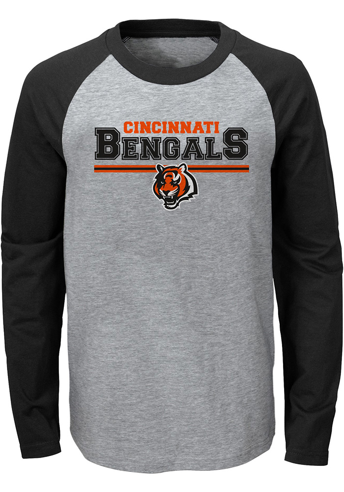 Cincinnati Bengals Youth Grey Field Line Long Sleeve Fashion T-Shirt - Image 1