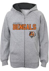 Cincinnati Bengals Boys Stated Full Zip Hooded Sweatshirt - Grey