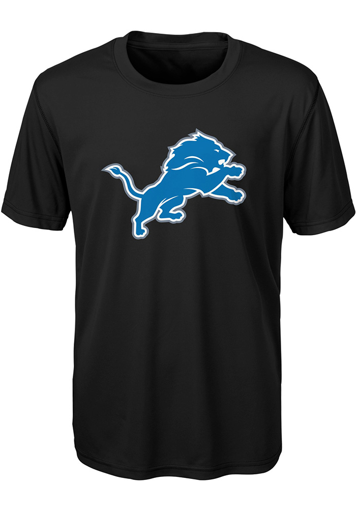 Detroit Lions Youth Black Primary Logo Short Sleeve T-Shirt - Image 1
