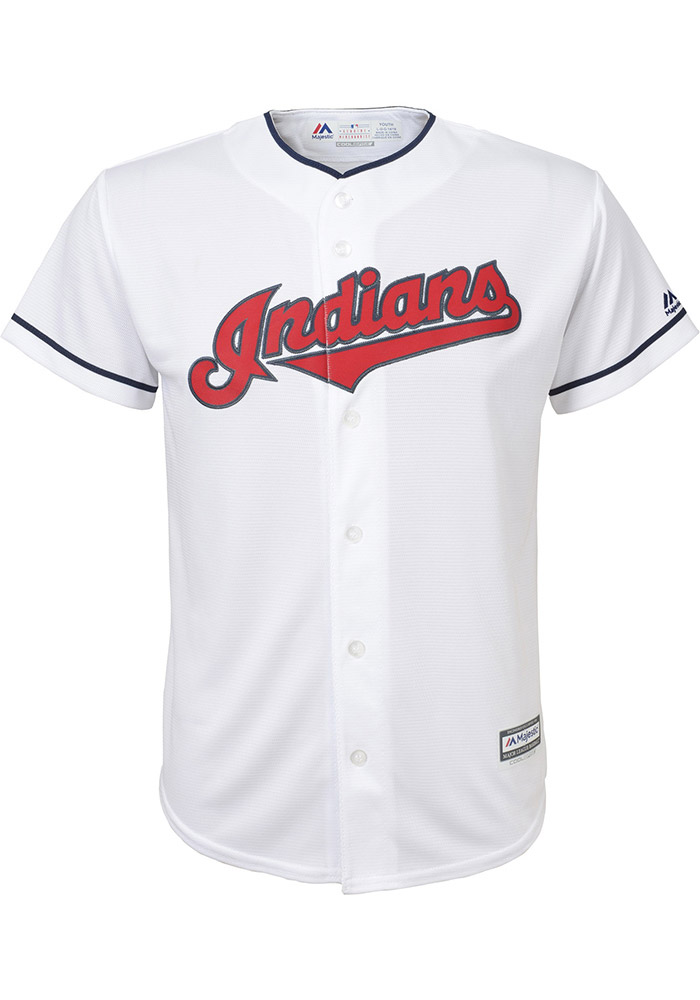 Francisco Lindor Cleveland Indians Youth White Cool Base Home Replica Jersey  - Image 2 67a671872