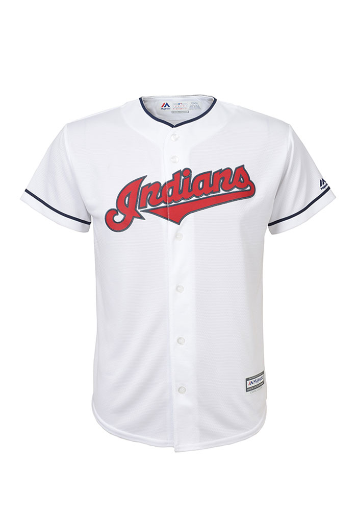 Cleveland Indians Boys White Cool Base Replica Baseball Jersey - Image 1